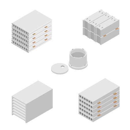 Building and construction materials raster icon set. Precast cement concrete block isometric view isolated on white background.