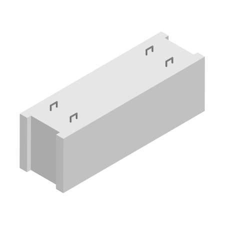Precast cement concrete block isometric view isolated on white background.
