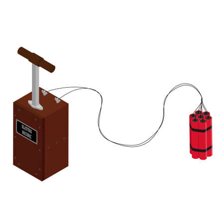 Detonator box with dynamite sticks. Blasting Machine isolated on white background. Caution explosive. Detonator plunger box Imagens