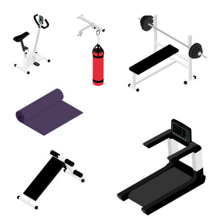 Gym bench with barbell, gym bike, treadmill, yoga mat and boxing bag isolated on white background isometric view. Fitness home gym equipment Foto de archivo - 154538031