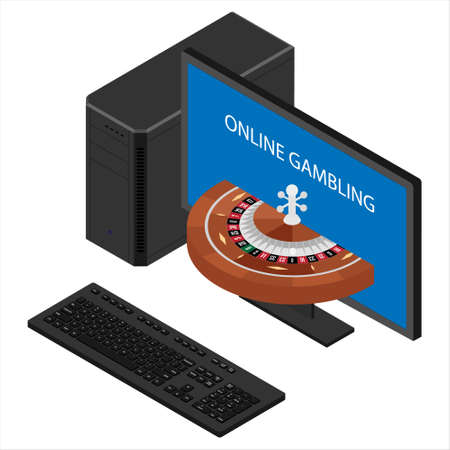 Casino and gambling concept. Online gambling. Computer monitor with casino roulette wheel