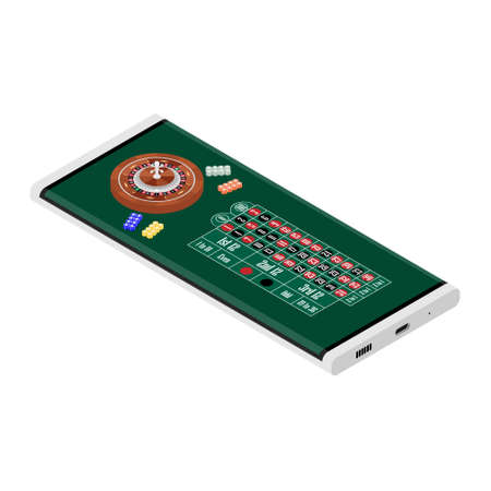 Casino and gambling concept. Online gambling. Smartphone with casino roulette wheel