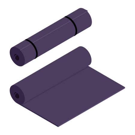 Purple yoga mat isolated on white background. Practicing yoga