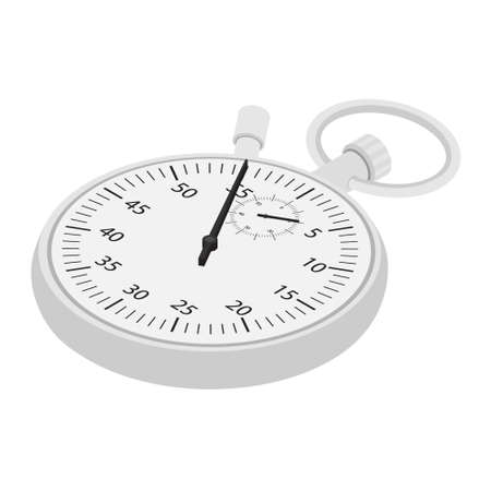 Stopwatch raster icon isometric view. Counter isolated on white background
