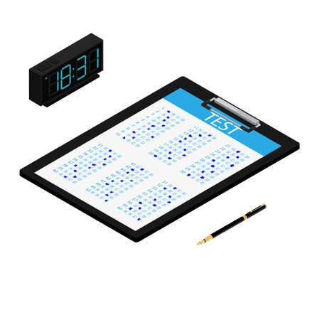 Test, exam paper on clipboard, digital clock and pen isometric view. Exam, or survey concept icon. School test. School exam. Foto de archivo