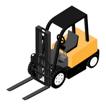 Forklifts, reliable heavy loader, truck. Heavy duty equipment isolated on white background isometric view Foto de archivo - 154538050