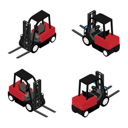 Forklifts, reliable heavy loader, truck. Heavy duty equipment isolated on white background isometric view Foto de archivo - 154538052