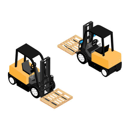 Forklifts, reliable heavy loaders, trucks with wooden pallet transporting cargo . Heavy duty equipment isolated on white background isometric view Foto de archivo - 154538055
