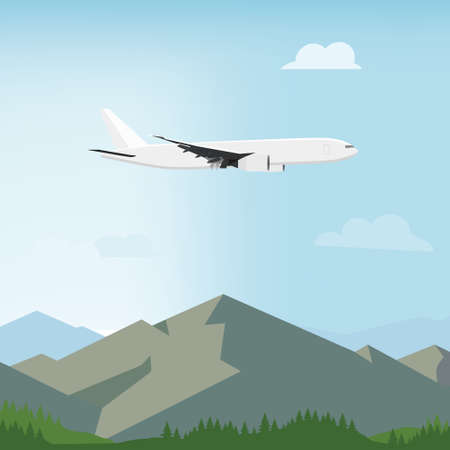 Landscape view of mountains, forest and flying airplane. Summer and spring landscape, background. White airplane flying in the blue sky with clouds.