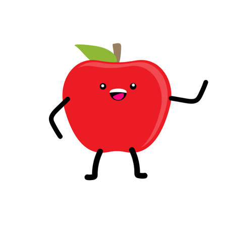 Fruits for kids. Cute apple fruit character vector illustration, healthy eating habits. Cartoon kawaii summer fruit on white background Vectores