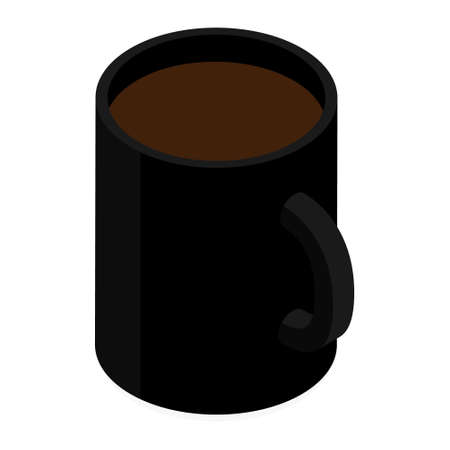 Black ceramic coffee mug. Isolated on a white. Vector. Isometric view