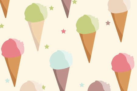 Background, pattern with different types of ice cream cone. Ideal for wrapping paper, children or kids pattern, wallpaper, background