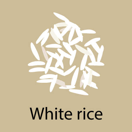 Handful of white parboiled rice, isolated on a brown background,vector. Healthy diet, vegetarian food, design element