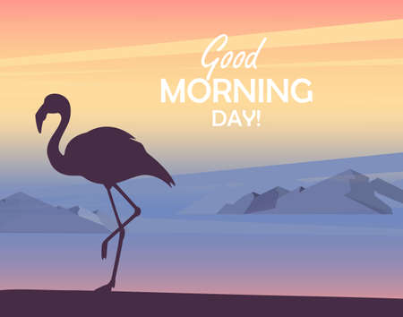 Silhouette of flamingo sunset or sunrise, mountain landscape. Good morning day concept. Beautiful view at sunrise. Vector illustration