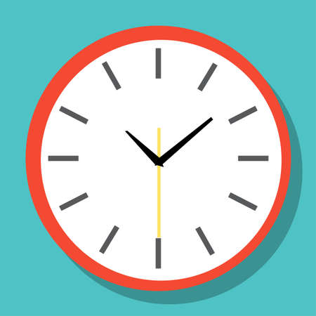 Clock icon in flat style, timer on color background. Vector design element Vectores
