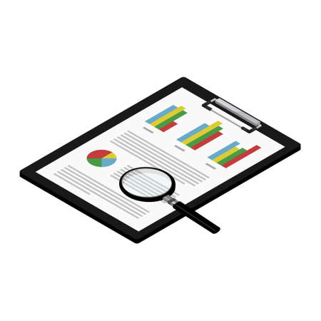 Report, business report with graphs on black clipboard and magnifying glass. Report icon isometric view isolated on white background. Search concept