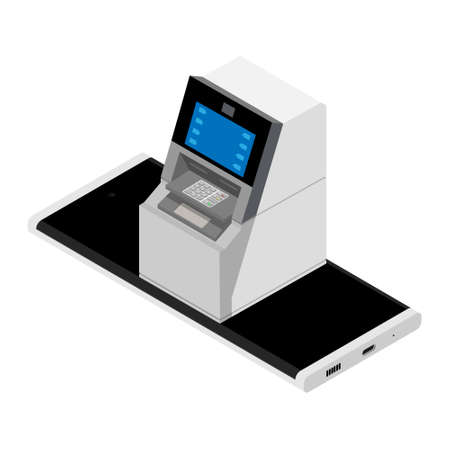 Mobile banking and payment on smart phone concept. Smart phone ATM isolated on white background Vectores