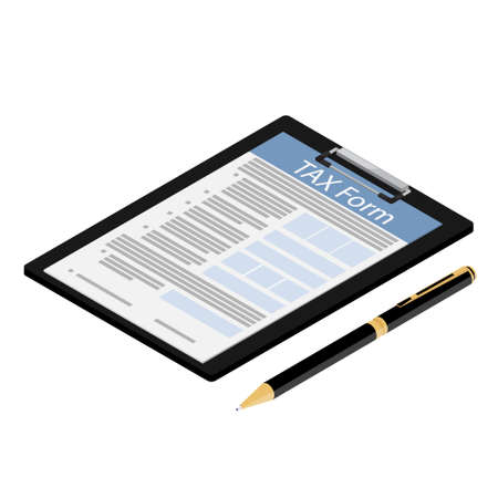 Isometric black clipboard with tax form and ballpoint pen icon isolated on white background. Federal income tax form. Tax return