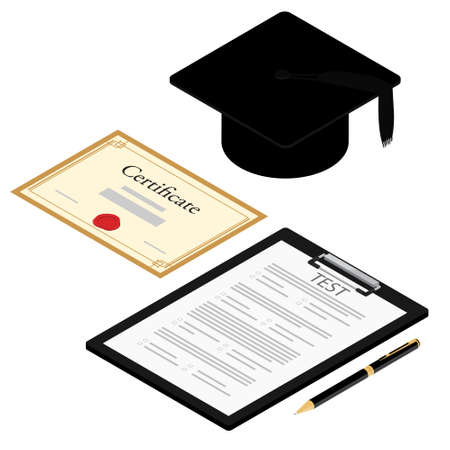 Education online testing, e-learning concept. Graduation cap, survey or exam form paper document and diploma certificate.
