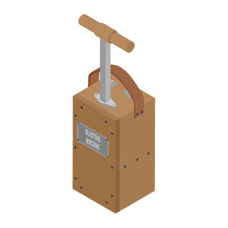 Detonator box. Blasting Machine isolated on white background. Caution explosive. Detonator plunger box