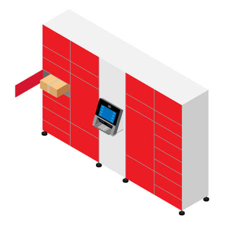 Client using automated self service post terminal machine or locker to deposit a parcel for storage. Parcel delivery station Vektorové ilustrace
