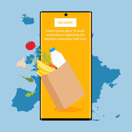 Shopping bag with fresh food and smartphone. Grocery supermarket, food and eats online buying and delivery concept. Vectores