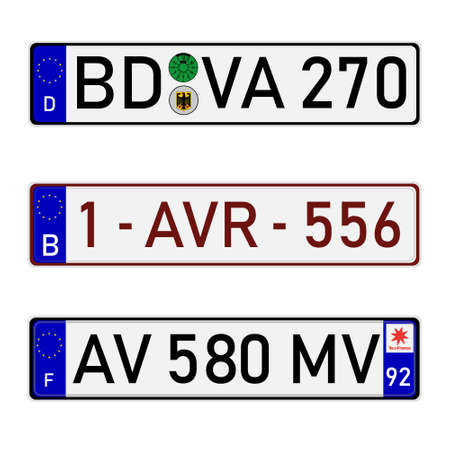 France, German and Belgium European union car license plate registration number Vectores