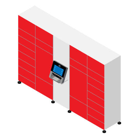 Parcel delivery station. Self service modern mass production standard city terminal from which customers can pick up and ship mails and packages.