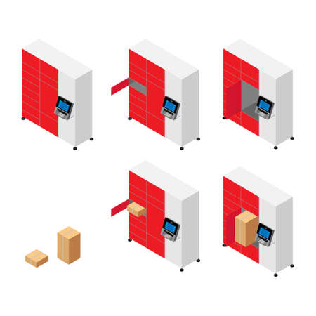 Client using automated self service post terminal machine or locker to deposit a parcel for storage. Parcel delivery station