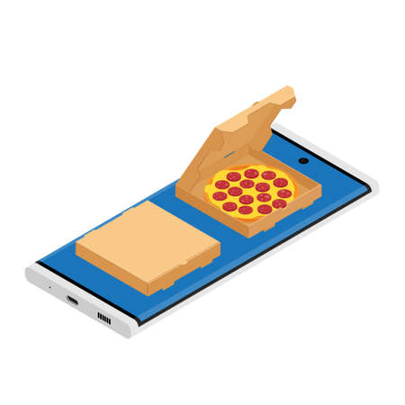 Salami pizza in a cardboard box for restaurants or pizzerias delivery. Delicious taste pizza with cheese and salami. Online delivery service. E-store