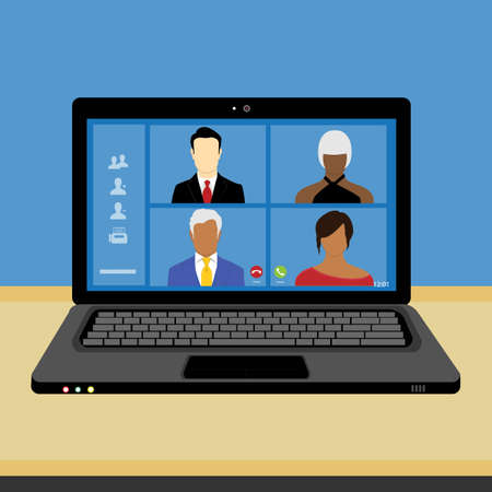 Talking to colleagues about plan in video conference. Multi ethnic business team using laptop for a online meeting in video call. Group of people smart working from home