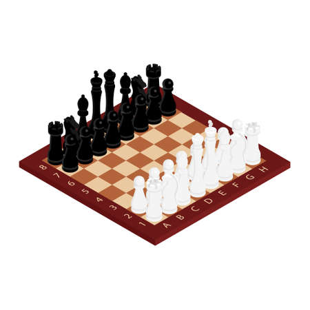 Chess game black and white on wooden board. Competition success play. Strategy, management or leadership concept. Isometric view.