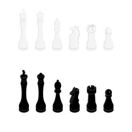 Chess pieces king queen bishop knight rook pawn isometric view icon set. Chess figures black and white. Team with chess pieces illustration
