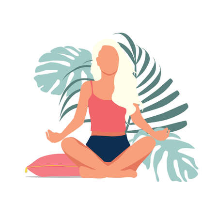 Woman meditating in nature and leaves. Concept illustration for yoga, meditation, relax, recreation, healthy lifestyle. Vectores