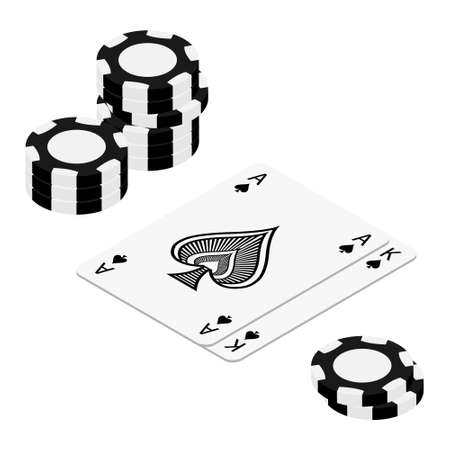 Playing cards and poker chips casino. Concept on white background isometric view. Poker casino illustration. Black realistic chip. Gambling concept, poker mobile app icon Vectores