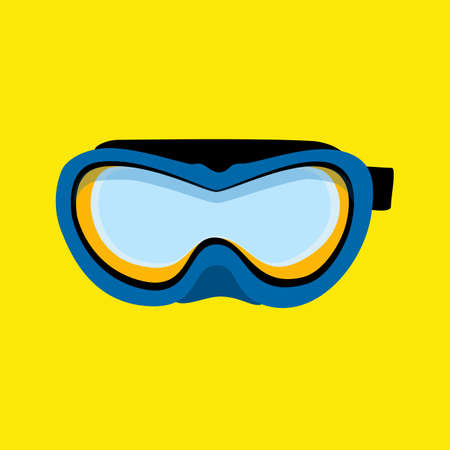 Blue diving mask. Diving mask isolated on yellow background. Swimming equipment Stock Illustratie