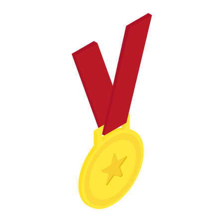 Golden medal icon isometric view isolated on white background.