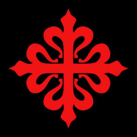 Red Calatravas spanish cross sign isolated on black background. Vectores
