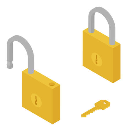 Golden locked and unlocked padlock and key isometric view isolated on white background. Vectores
