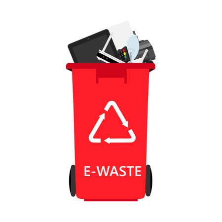 Electronic waste in red recycling can, bin with discarded electrical and electronic devices. Recycling garbage separation and recycled isolated on white background.