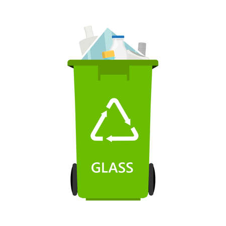 Green can with sorted glass garbage icon. Recycling garbage separation and recycled isolated on white background. Recycling concept - bin full of glass Vektorgrafik