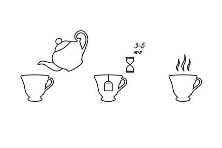 Tea brew instruction icons. Set of outlined tea icons. Tea making instruction, guidelines. How to make tea. Package design element. Design element template. Vectores