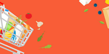 Grocery delivery at home: banner template design full shopping cart, paper bag with fresh vegetables and fruits, food and beverage. Eco shopping bag. Shopping raster concept