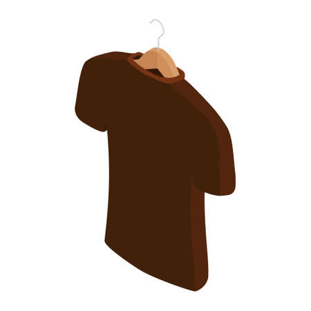 Brown t-shirt on hanger, clothes on isolated white background. raster. Isometric view