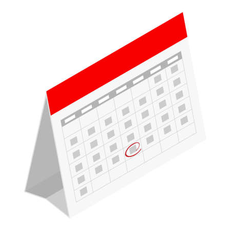 Standing month lined spring desk calendar template icon. raster illustration isolated on white background isometric view.