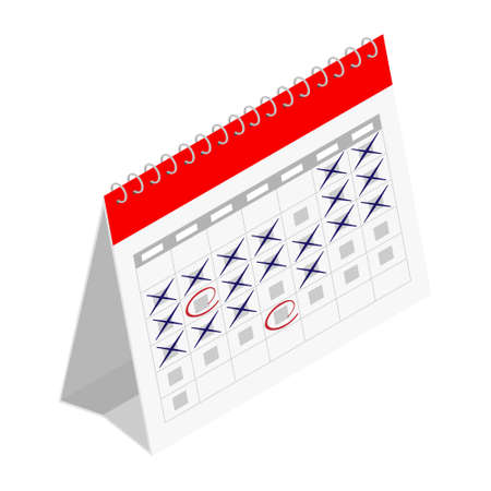 Planning schedule and calendar concept. raster. Isometric view. Isolated on white background