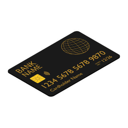 Black bank credit debit card isometric view isolated on white backgound Stock Photo