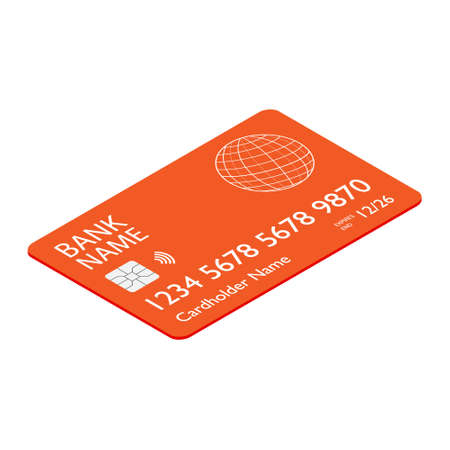 Orange bank credit debit card isometric view isolated on white backgound Stock Photo