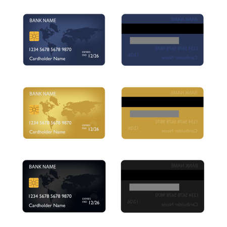 Realistic detailed credit cards set with colorful abstract design background. Stock Photo