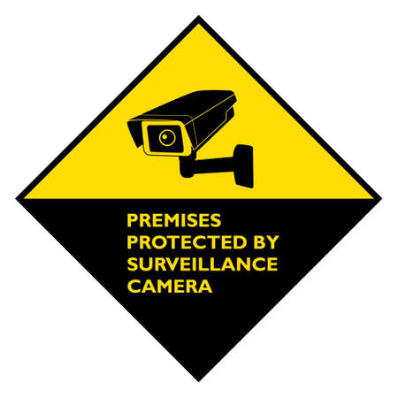 Attention premises protected by surveillance camera yellow diamond rhomb sign.